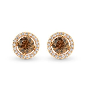 Fancy Brown Round Diamond Halo Earrings 494172