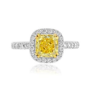 Fancy Vivid Yellow Cushion Diamond and Pave Engagement Ring 516342