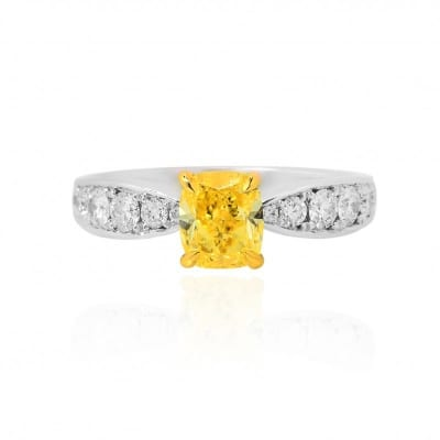 1.63Ct Fancy Intense Yellow Cushion Diamond Side Stone Ring 520788