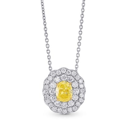 Fancy Vivid Yellow Oval Diamond Pendant 523884