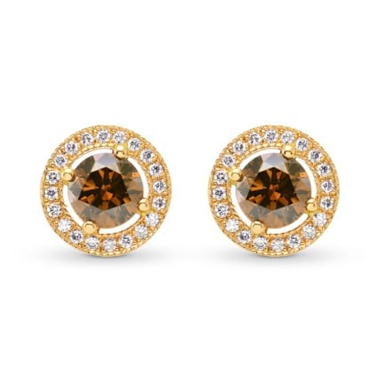 Fancy Deep Orangey Brown Round Diamond Halo Earrings 530988