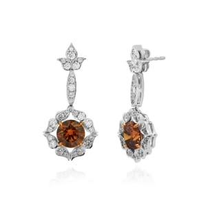 18K White and Rose Gold Fancy Brown Drop Halo Earrings 541344