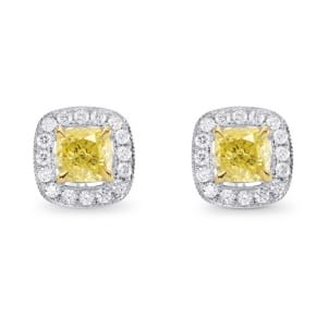 Fancy Intense Yellow Cushion Diamond Drop Earrings 553482