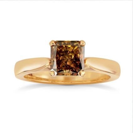 Fancy Deep Brown Orange Radiant Diamond Solitaire Ring 567384
