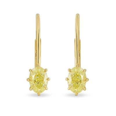 1.83Ct TW, Fancy Yellow Oval Diamond Drop Earrings 581148