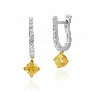 Fancy Intense Yellow Cushion Diamond Drop Earrings 593574