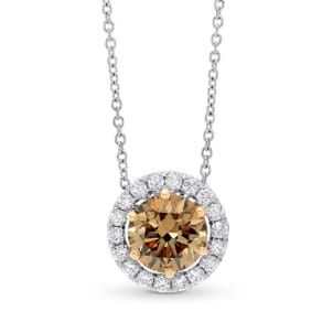 Fancy Dark Yellowish Brown Diamond Halo Pendant 598272